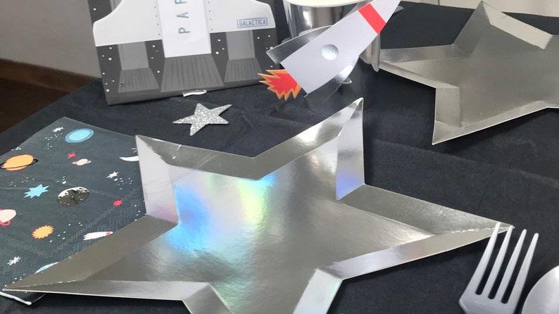 Silver Star Foil Plates