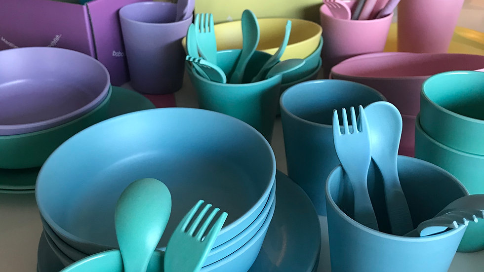 Bamboo Cups, Plates & Cutlery Set
