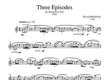 Three Episodes Saxophone Piano Gilad Hochman
