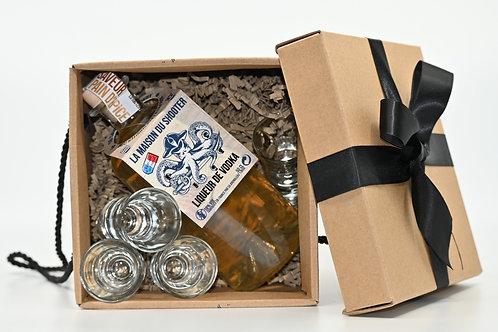 Coffret cadeau Bouteille Classique Personnalisée + 2 verres à Shooter