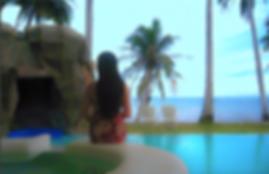 tropical life,black sand beach,coconut palms,infinity pool,filipina,palawan,philippines,acqua sea,beautiful woman,calm sea,