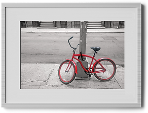 Art photography of a red bicycle