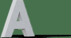 Letter A in 3D concret form