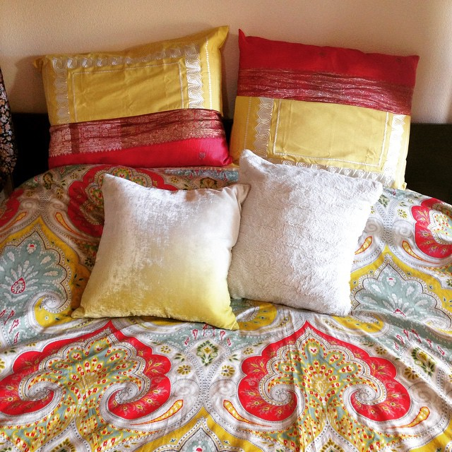Made these #bohemian #colorblock pillow cases in between clients today 😊 feeling a little obsessed