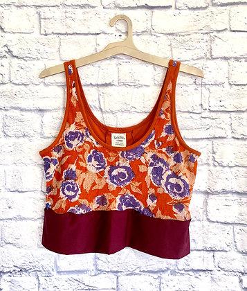 Rust + Purple Lace Floral Crop Top