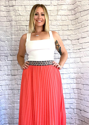 Coral Please Pleated Maxi Skirt