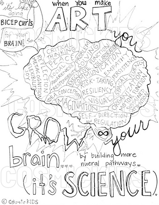 Art Grows Your Brain; It's Science Coloring Sheet