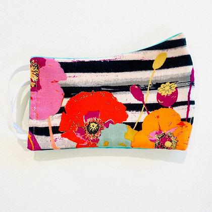 Pinstripe Poppies Mask