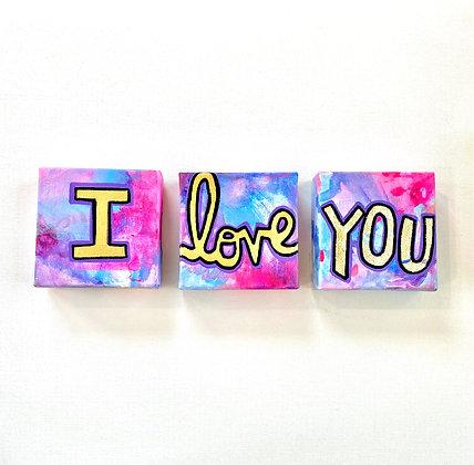 I Love YOU mini canvas triptych