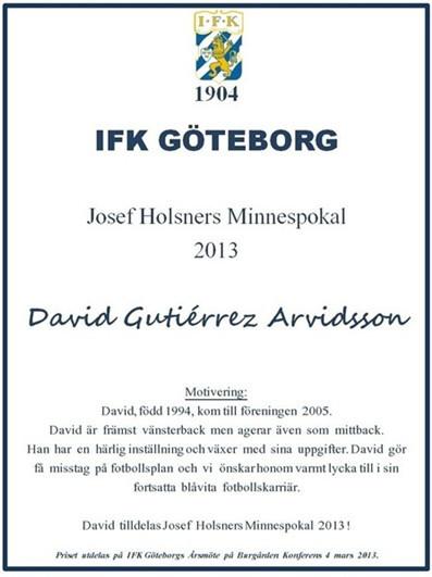 "IFK GOTEBORG ""JOSEF HOLSNERS"" TROPHY 2013"