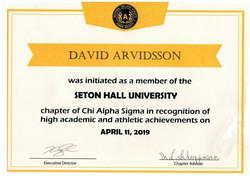SHU Chi Alpha SIgma Academic and Athleti