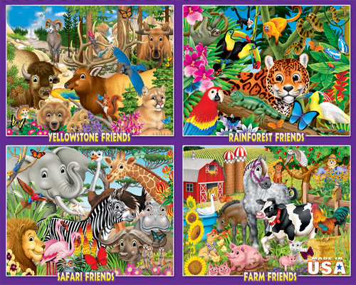 Animal Friends: 4 100pc Puzzles