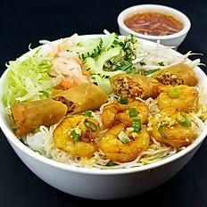 B6. Grilled Shrimp & Spring Roll Vermicelli (Bún Tôm Nướng, Chả Giò)