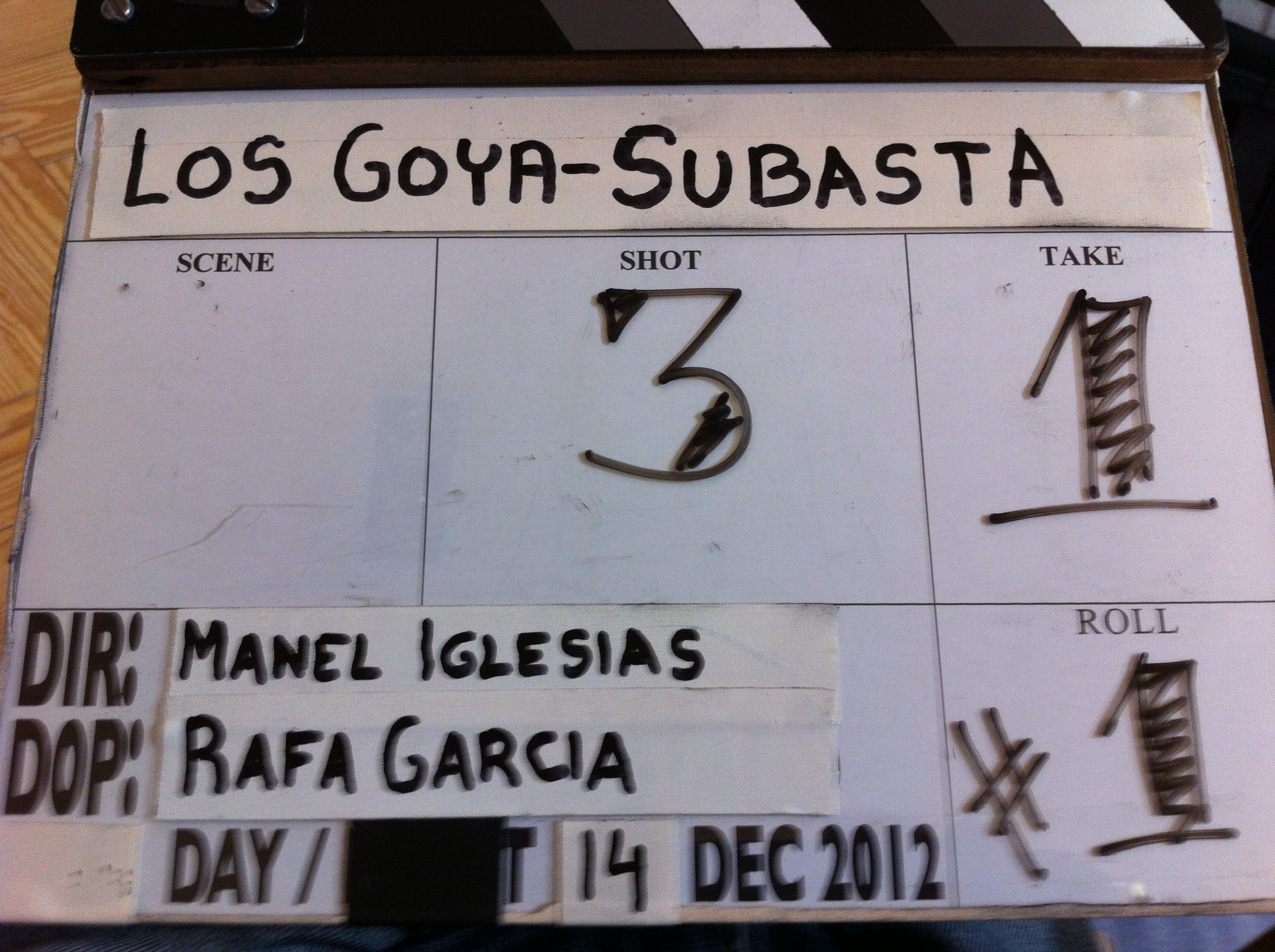 Claqueta rodaje spot Goya 2013