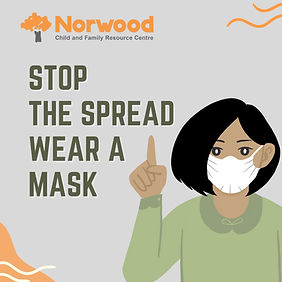 Image of person in a mask: stop the spread, wear a mask