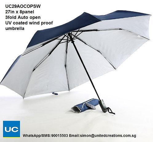 UC29AOCOPSW 27in x 8panel 3fold Auto fold uv coated wind proof umbrella
