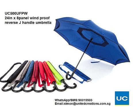 UC500UFPW 24in x 8panel Wind proof reverse J handle umbrella