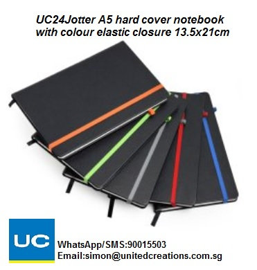 UC24Jotter A5 Hard cover notebook with colour elastic closure