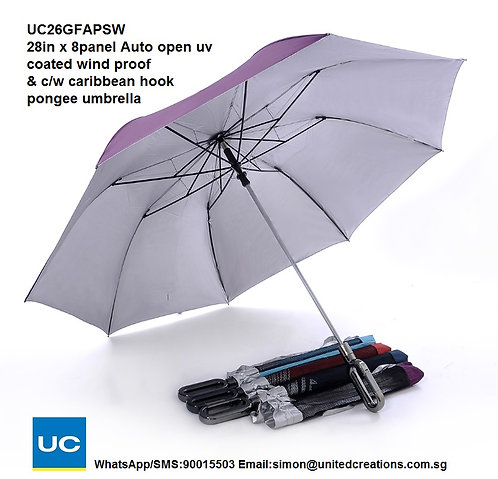 UC26GFAPSW 28in x 8panel Auto open uv coated wind proof carribean hook umbrella