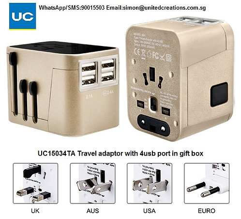 UC15034TA Travel adapter with 4usb hub in gift box