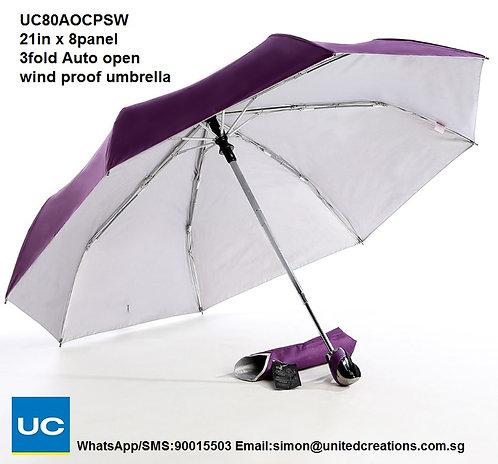 UC80AOPSW 21in x 8panel 3fold Auto open wind proof umbrella