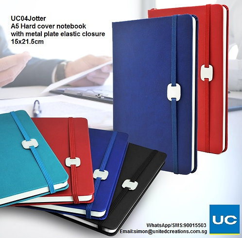UC04Jotter A5 Hard cover notebook with metal plate elastic closure