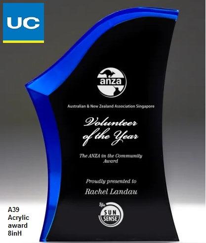 A39 Acrylic award with laser engraving