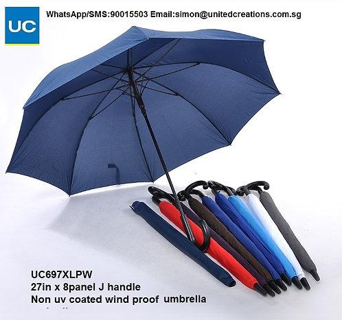 UC697XLPW 27in x 8panel J handle non uv coated wind proof umbrella