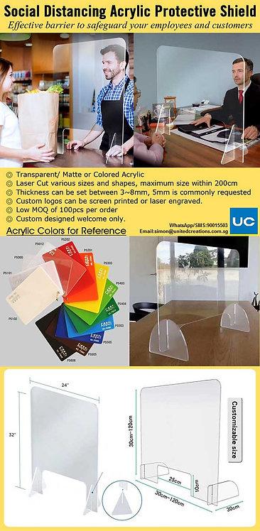 Social distancing acrylic protection shield