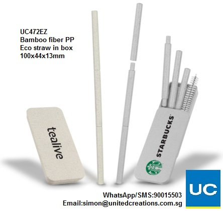 UC472EZ Bamboo fiber PP eco straw in box
