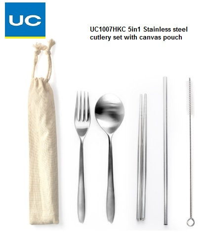 UC1007HKC 5in1 S/steel cutlery set with canvas pouch