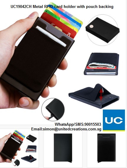 UC19042CH Metal RFID card holder with pouch backing in gift box