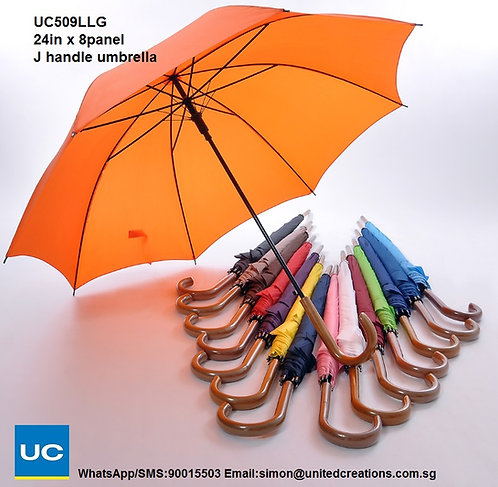 UC509LLG 24in x 8panel J handle umbrella