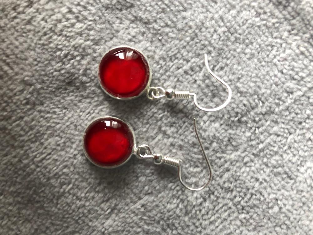 Cherry silver button earrings