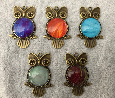 Assorted Colored Owl Pendants