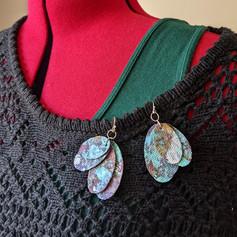 Hand-painted Recycled Denim Earrings
