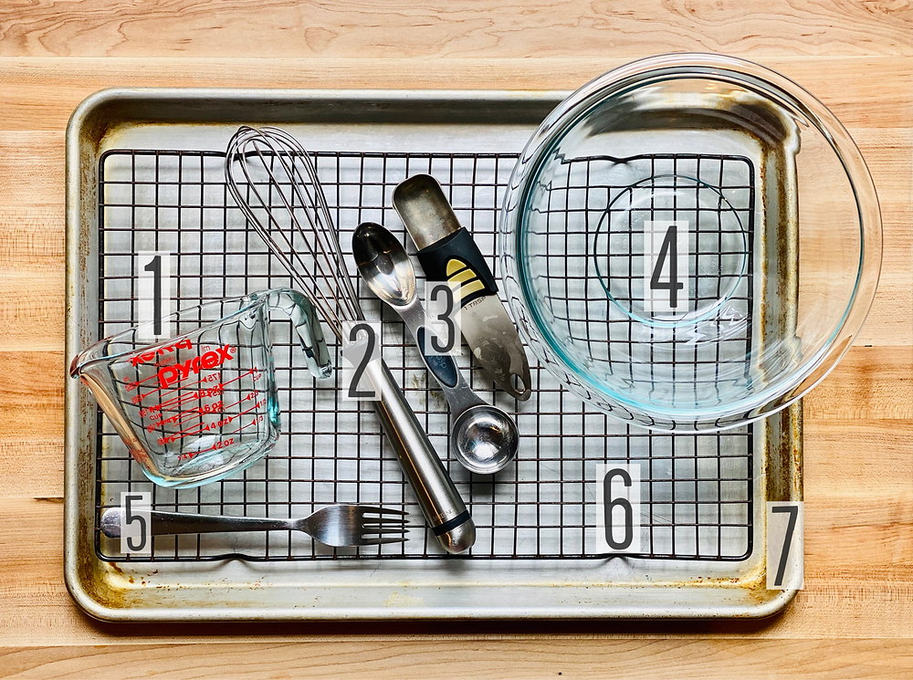Kitchen tools and utensils for preparation of French toast recipe