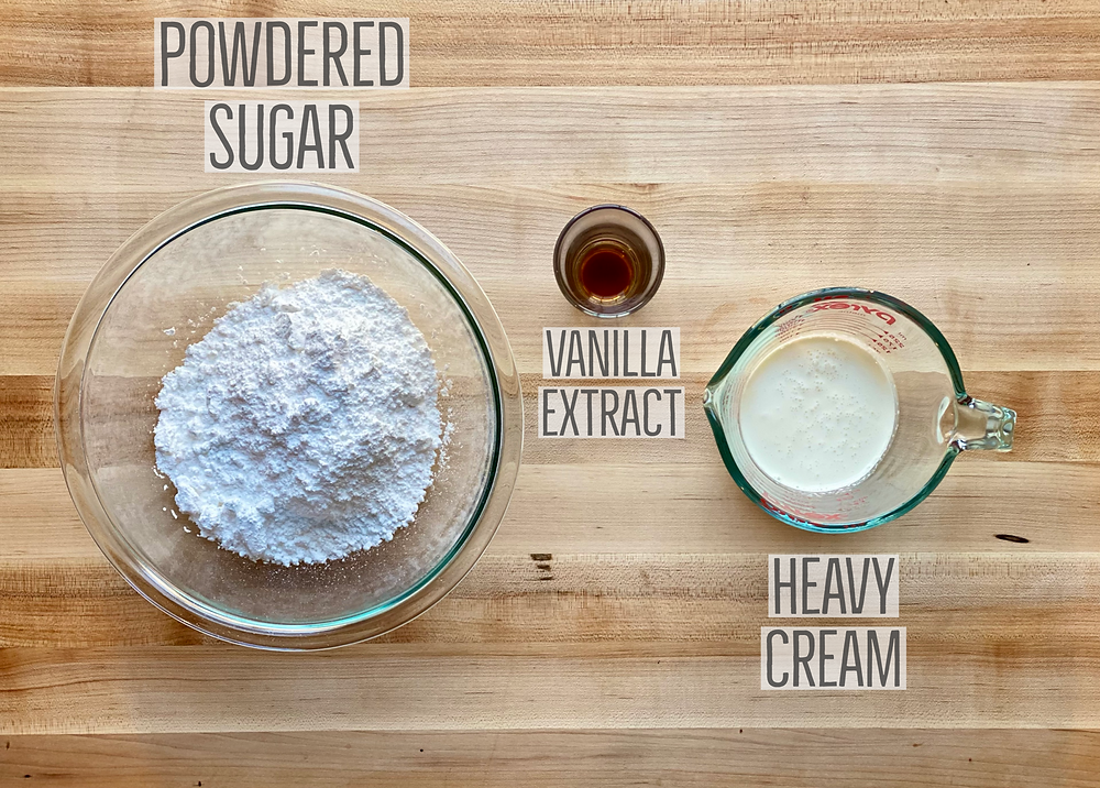 ingredients for glaze which includes confectioners (powdered) sugar, vanilla extract and heavy cream, for recipe cream cheese apple danish from Desserts Capital delivery based online bakeshop in Philadelphia, Pennsylvania
