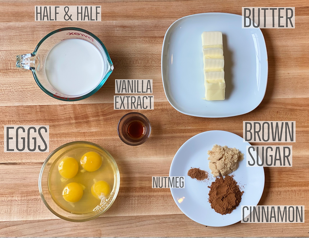 ingredients for french toast recipe from Desserts Capital Philadelphia