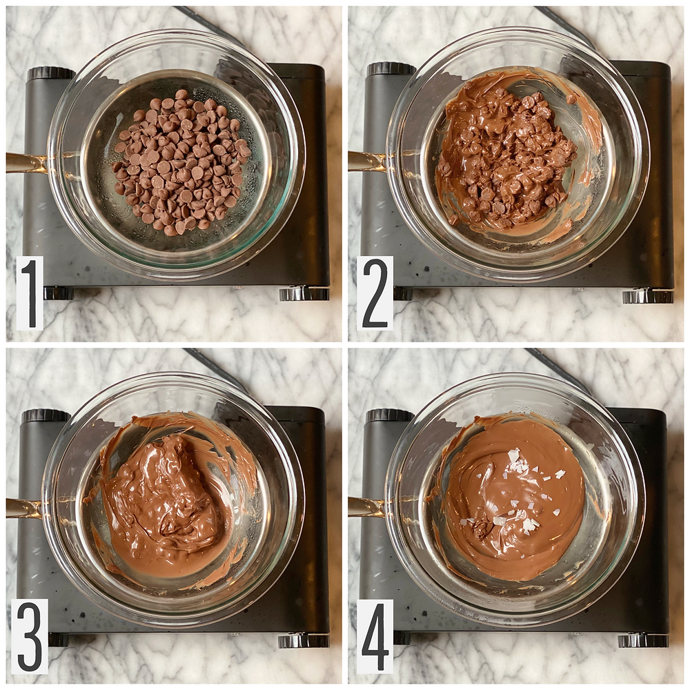 Pictorial depicting double boiling method for melting chocolate chips for chocolate covered pretzels recipe