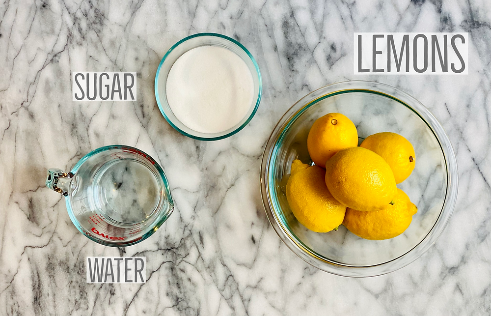 Ingredients to make lemon simple syrup. 4-6 medium lemons, sugar and water.