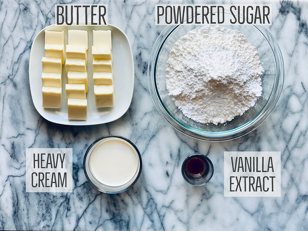 ingredietns for American vanilla buttercream frosting