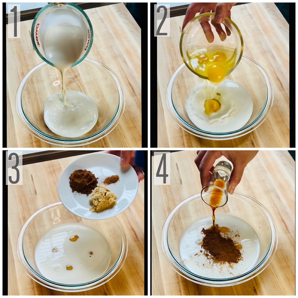 French toast ingredients consisting of half and half, eggs, vanilla extract, sugar and spices added to mixing bowl