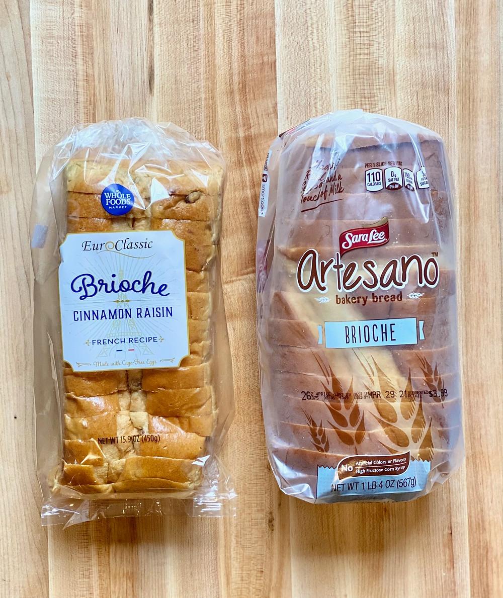 Plain and cinnamon raisin brioche bread for French Toast recipe from Desserts Capital