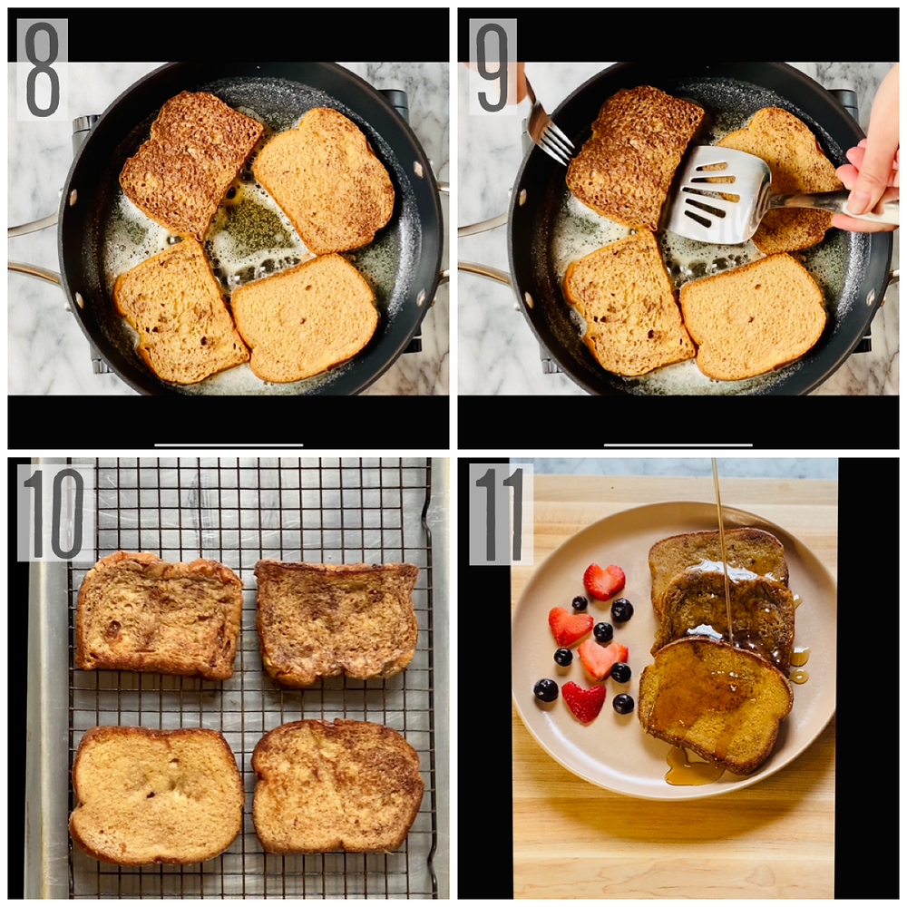 Golden french toast slices cooked in hot buttered skillet and plated as breakfast entree served with maple syrup