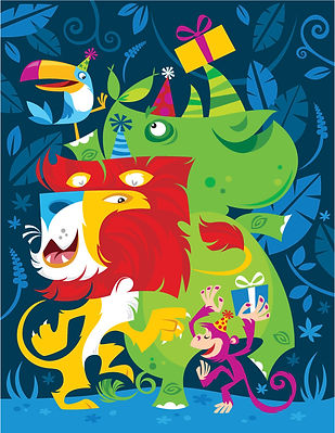 fun-cute-birthday-party-jungle-animals-bright-colors-toucan-lion-monkey-rhino-dancing-presents-cute-