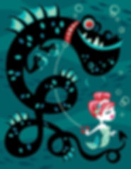 Mermaid and Pet Sea Monster
