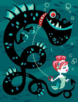 cute-mermaid-walking-monster-pet-sea-serpent-dragon