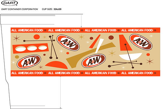 A&W cup design graphic