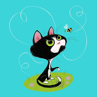 Whimsical cat character illustration with bee